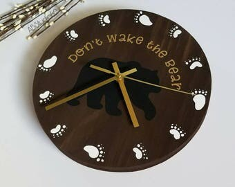 Woodland Nursery Decor, Woodland Clock, Modern Wall Clock, Modern Clock, Don't Wake the Bear, Nursery Clock, Clocks for Kids, Bear Nursery