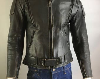 Vintage Cafe Racer Jacket// Black Leather Motorcycle Jacket// 80s Fieldsheer Biker Jacket (F1)