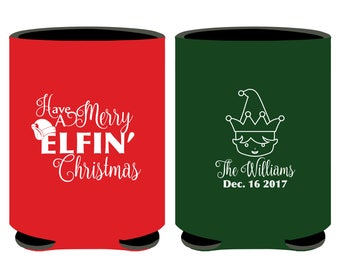 Have a Merry Elfin' Christmas Can Coolers, Christmas Party Can Coolers, Holiday Party Can Coolers, Fun Christmas Party Favors, Xmas (128)