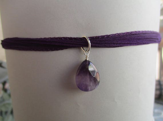 Amethyst Choker on Silk Ribbon N911174