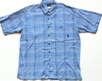 Vintage Patagonia Organic Cotton Button Up Oxford Casual Plaid Checkered Men's Short Sleeve Polo Dress Shirt Size XL Made In Portugal