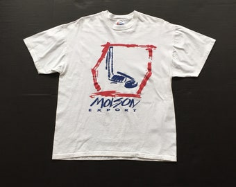 DEADSTOCK 90s MOLSON export single stitch t shirt size xl 100% Cotton blue red white