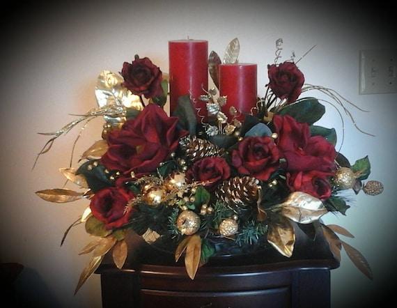 Christmas floral arrangement elegant silk centerpiece