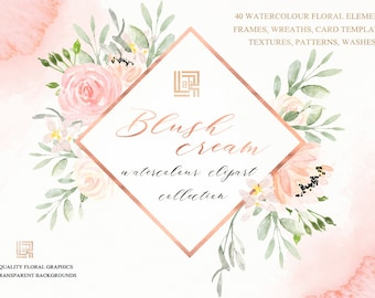 Blush cream watercolour flowers clipart, hand drawn: FRAMES, wreaths. Soft  blush pink and peach colors. Peonies.