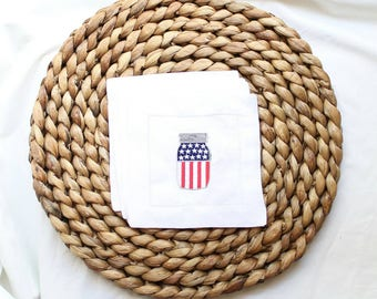 Patriotic Cocktail Napkins, Patriotic Decor, Amerciana Decor, Gifts for Her, Unique Gift, 4th of July, Independence Day, Bar Gifts