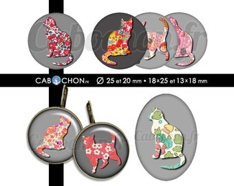 Liberty Cat 2 • 60 Images Digitales RONDES 25 20 mm et OVALES 18x25 13x18 mm chat silhouette liberty fleurs motifs retro vintage flowers