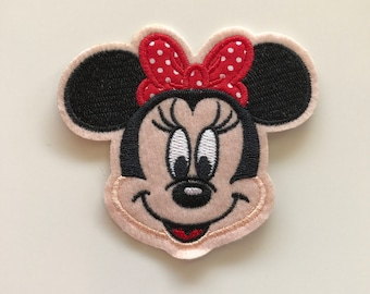 Minnie Mouse With Red Hair Bow Iron In Embroidered patch