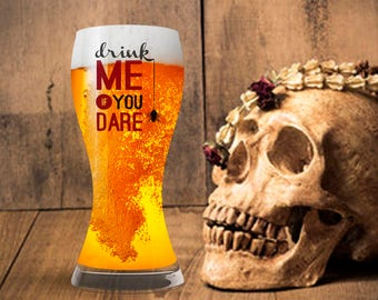 Halloween Glassware, Drink Me If You Dare Drinking Glass, Punny Wine Beer Glass, October Decoration,  Beer Wine Liquor Soda Milk Cup Mug
