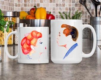 Lucy and Ricky Ricardo Mug, I Love Lucy Mug, Watercolor Lucille Ball and Desi Arnaz Coffee Mug Gift, Birthday Anniversary Housewarming Gift
