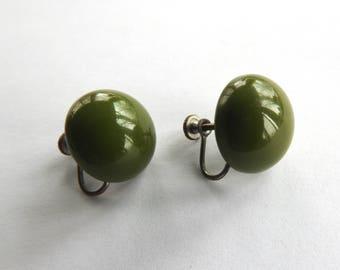 Green Bakelite Earrings