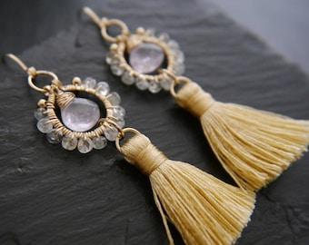 Tassel Earrings, Amethyst Earrings, Gold Hoop Earrings, Aquamarine Earrings, Gemstone Earrings, Gold Filled, Wire Wrapped, Bridesmaid Gift