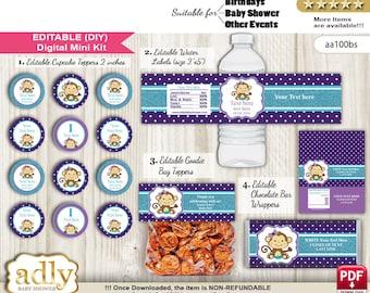 DIY Editable Girl Monkey Birthday, Baby Shower, Kit Cupcake , Goodie Bag  Toppers