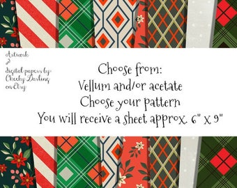 CHRISTMAS Themed Vellum and Acetate Papers