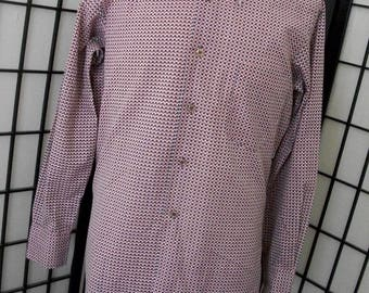 Vintage men's geometric retro mod disco boogie thin groovy long sleeve 70's shirt by Showcase Small S 14-14 1/2