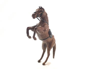 Carved and Patinated Leather Rearing Horse Sculpture, Western Leather Horse Statue, Pony Statue