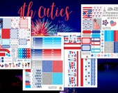 4th of July Cuties Weekly Planner Stickers Set - for use with Erin Condren - Happy Planner