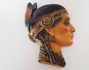 Rare Original 1931 Chalk Plaster Native American Indian Squaw Stamped 12/31 Wall Hanging Wall Plaque Wall Decor Mannequin Head