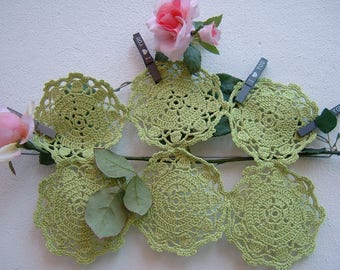 Crochet coasters-Set of 6 coasters acid green cotton-small crochet placemats-decor Panel-crochet Doilies