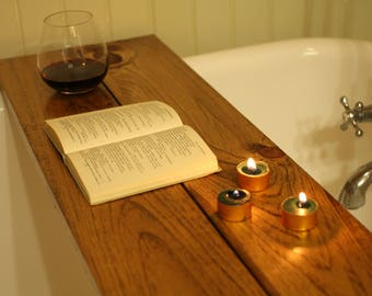 Custom-made barnboard wood bathtub caddy tray (tub table)