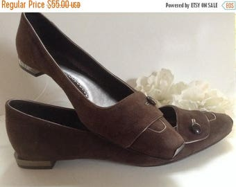 ON SALE Giorgio Armani Metal Trim Suede Shoes EU 35.5 Brown Couture Botton Italian Shoes Made in Italy