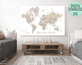 Printable world map with cities, file for printing a canvas world map, push pin world map, custom world map, personalized map. MAP141 082