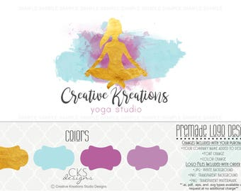 Premade Logo & Watermark Blue Purple And Gold Yoga Logo Workout Logo Fitness Logo Watercolor Logo