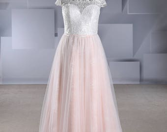 Off Shoulder Contemporary Lace Wedding Dress with Lace Under Tulle A line Design