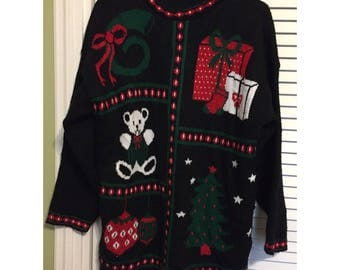 Late 80s/Early 90s Ugly Christmas Sweater, M-L