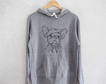 Pierre the French Bulldog - Grey French Terry - Unisex Slim Fit