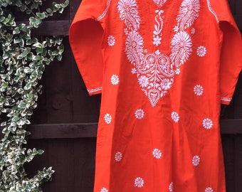 Hand embroidered • Indian kurta • Lucknovichikan • Chikankari • orange kurta • resortwear