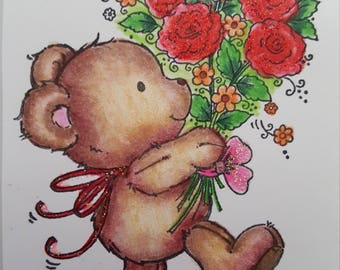 Bear Flowers clear stamp