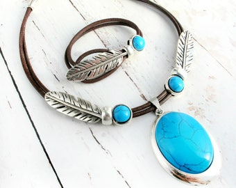 Turquoise Jewelry-Turquoise Necklace & Bracelet Set-Turquoise Jewelry Set-Gift for Her-Leather Necklace-Leather Bracelet-Leather Jewelry Set