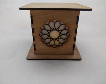 Mandala Lamp - laser cut loop mandala light box with LED flicker flame candle