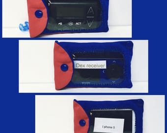 Window insulin pump pocket or Dex holder/ variety of colors/ Pul fabric