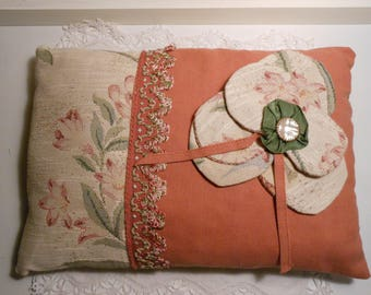 Romantic large flower fabric cushion
