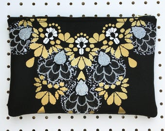 Black and Gold STATEMENT CLUTCH PURSE with textural embellishment. Luxury evening bag. Jewelled clutch purse with zip.