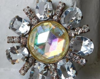 ON SALE Exquisite Vintage Czech Handmade Rhinestone Button~Aurora borealis~Clear open back stones~round design~Gorgeous!