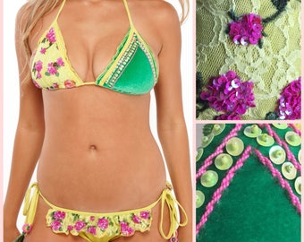 Velvet Bikini Yellow and Green – Two Piece with Ruffle Bikini Bottom with Scrunch and Bikini Top with Velvet, Lace & Sequins