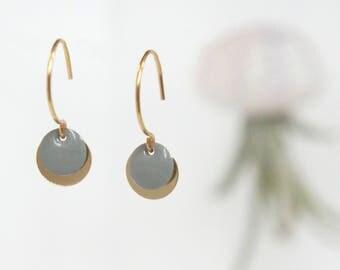 Earrings Earhooks 925 Sterling silver gold filled with enamel drop, pendant, charm, grey