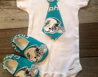 Miami Dolphins tie onesie, miami Dolphins onesie, Dolphins baby onesie, miami dolphins baby boy bodysuit