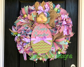 Ready to ship,Easter wreath,Easter bunny wreath, Spring wreath,Easter deco mesh wreath, Bunny wreath,Easter mesh wreath, Front door wreath