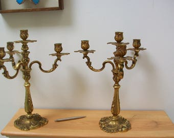 Vintage French Quality Heavy pair of Bronze 5 arm rococo candelabra #26