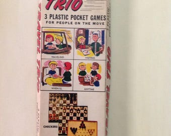 Vintage Travel Games, Travel Trio Pocket Games, Miniature Checkers Chess and Chinese Checkers