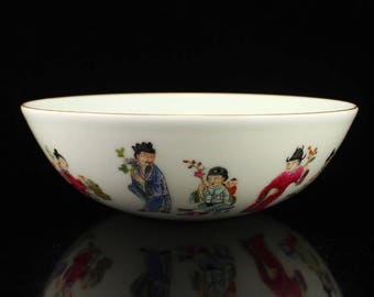 N4686 Chinese Qing Dy Gilt Edges Famille Rose Porcelain Bowl
