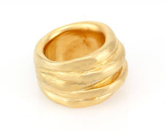 wide gold wedding band - wide gold ring - chunky gold ring - wide gold band ring for women - gold over silver ring -artistic Israeli jewelry