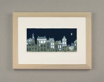 Handmade screenprint 'City by night'