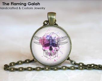 SKULL and DRAGONFLY Pendant • Dragonfly Art • Boho Dragonfly • Boho Skull •  Skull Art • Gift Under 20 • Made in Australia (P1445)