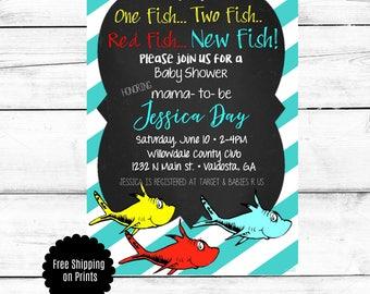 Dr. Seuss Baby Shower Invitation, Baby Shower Invitation, Fish Baby Shower Invitation, Blue Baby Shower Invitation, Dr. Seuss Invitation