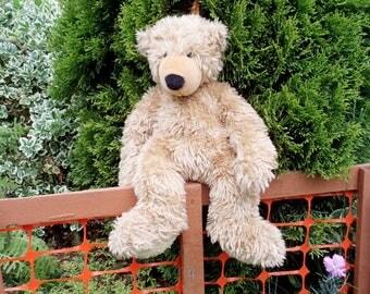 Vintage Teddy Bear, Vintage Plush Toy, Teddy Bear Toy, Vintage Plush Bear, 1980, Beige Teddy Bear, Stuffed Toy, For Kids