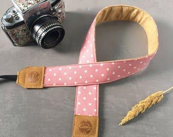 DSLR camera strap, Pink  Polkadot Camera Strap, leather camera Strap ,Gift for her